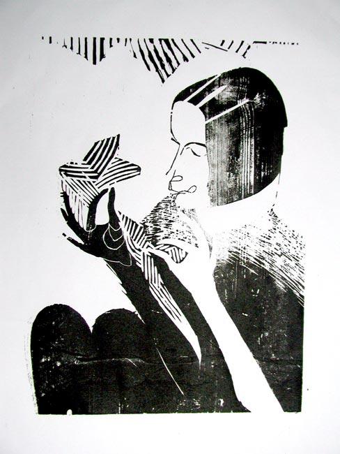 Panny madonny hetery, drzeworyty barwione 1986
