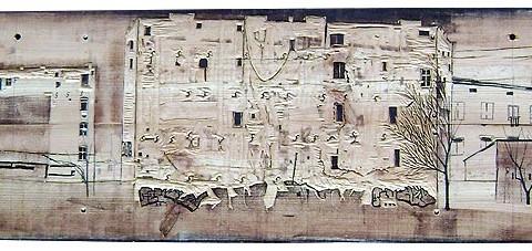 Limanowskiego - Zachodnia - Zgierska, tryptyk drzeworytniczy, 2008